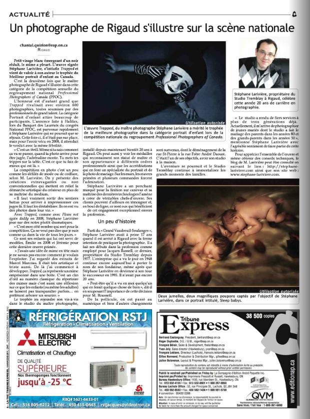 stephane-lariviere-photographe-trophee-portrait-enfant-canada-tribune-express-cover